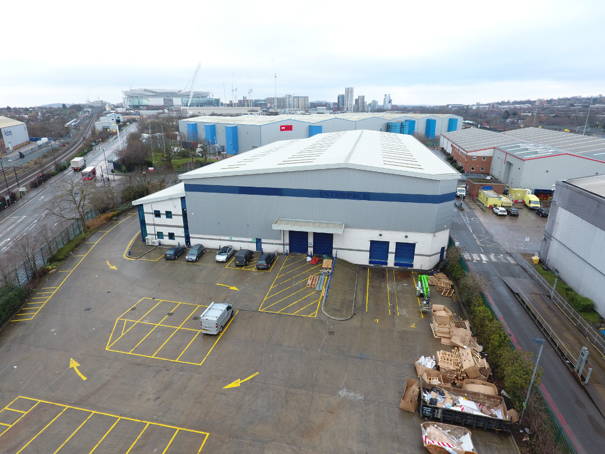 Aerial view of a warehouse, showing it close proximity to Wembley stadium.