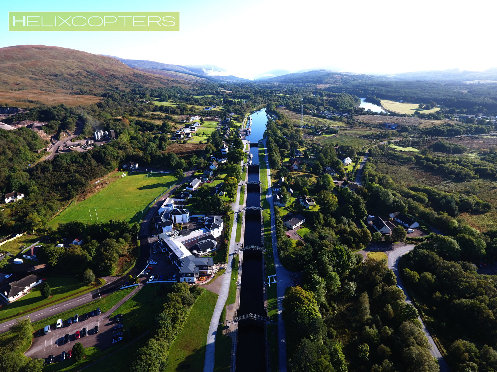 Aerial drone shot of a series of canal locks called Neptune's staircase